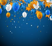 Background with flags and balloons. Background with blue and orange flags, balloons and confetti. Vector illustration Stock Photography