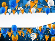 Background with flags and balloons. Blue background with orange flags, balloons and confetti. Vector paper illustration Royalty Free Stock Photos