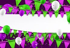 Background with flags and balloons. Festive background with green and lilac flags and balloons. Vector illustration Royalty Free Stock Images