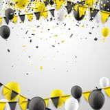 Background with flags and balloons. Festive background with yellow flags, balloons and paper confetti. Vector illustration Royalty Free Stock Photo