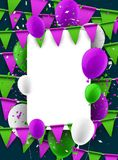 Background with flags and balloons. Festive background with green and lilac flags and balloons. Vector illustration Stock Photo