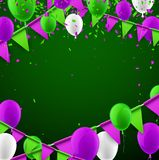 Background with flags and balloons. Green festive background with lilac flags and balloons. Vector illustration Royalty Free Stock Photography