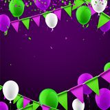 Background with flags and balloons. Purple festive background with green flags and balloons. Vector illustration Stock Image