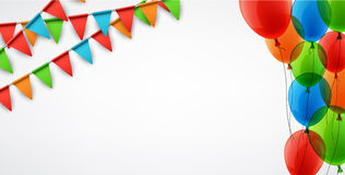 Background with flags and balloons. White background with colour flags and balloons. Vector illustration Stock Photography