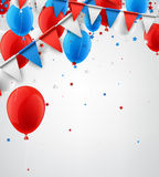 Background with flags and balloons. White festive background with flags, balloons and stars confetti. Vector illustration Royalty Free Stock Photography