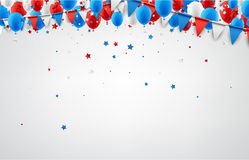 Background with flags and balloons. White festive background with flags, balloons and stars confetti. Vector illustration Stock Images