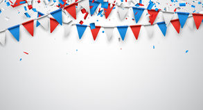 Background with flags. Background with confetti and garland of flags. Vector illustration Royalty Free Stock Images