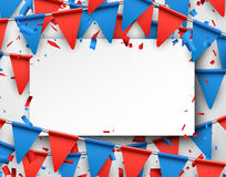 Background with flags. Festive background with red and blue flags. Vector paper illustration Stock Photo