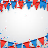 Background with flags. Background with garland of flags and confetti. Vector paper illustration Stock Photos