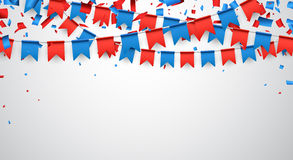 Background with flags. Background with garland of red and blue flags. Vector illustration Stock Photo