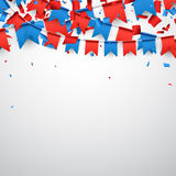 Background with flags. Background with garland of red and blue flags. Vector illustration Royalty Free Stock Photography