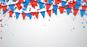 Background with flags. Background with garland of red and blue flags. Vector illustration Royalty Free Stock Images