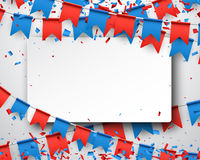 Background with flags. Background with garlands of red and blue flags. Vector illustration Stock Photo