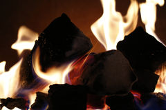 Background of flames from a fire place Stock Image