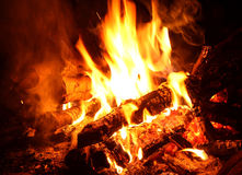 Background of Flames and Glowing Embers. In a Campfire Stock Photos
