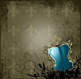 Background Fleur de Lys with blue Coat of Arms Royalty Free Stock Photo