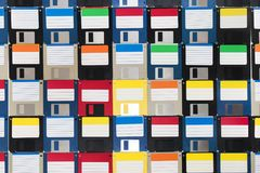 Background of floppy disks. Full view of a background of many colorful floppy disks Stock Photography