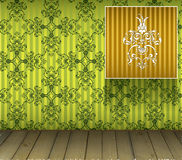Background with floral decoration and wooden floor Royalty Free Stock Image