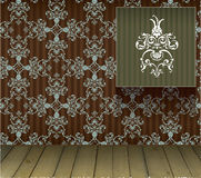 Background with floral decoration and wooden floor. Ing Stock Image