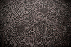 Background with Floral Engraved Leather Royalty Free Stock Image