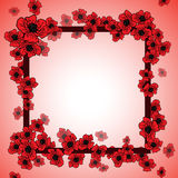 Background and floral frame with poppies Royalty Free Stock Image