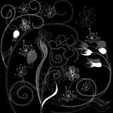 Background with floral ornament. Monochrome illustration Stock Photo