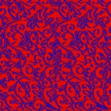 Red background with blue floral ornament. Illustration. Royalty Free Stock Photography