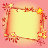 Background with floral ornament and label in peach color Stock Images