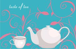 Background with floral ornament, teapot and cup. Vector drawing of the teapot and cup on the floral background Stock Photography