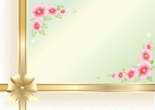 Background with floral pattern and golden ribbon with bow for festive day, vector design stock image