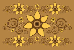 Background with floral patterns. Brown background with yellow floral patterns Royalty Free Stock Photography