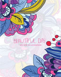 Background floral print. Colorful vector background with floral pattern and inscription beautiful day colorful vector card vector illustration