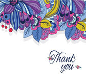 Background floral print. Colorful background floral print and the words thank you on white background stock illustration