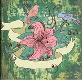 Background with flower, birds and ribbon. Old fashion background with flower, birds and ribbon for design, illustration Royalty Free Stock Photography