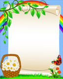 Background with flower butterfly and rainbow. Illustration background with flower butterfly and rainbow Royalty Free Stock Image