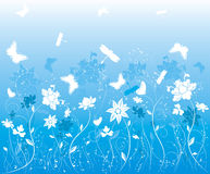 Background flower with butterfly, vector Stock Images