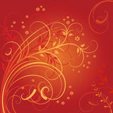 Background with a flower composition. Vector illustration from curls and white colours on the red background Royalty Free Stock Images