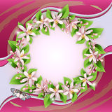 Background with flower wreath Royalty Free Stock Image