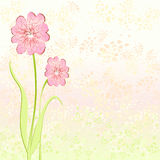 Background flowers. Background  composed of small irregular shapes and two flowers, in shades of pastel yellow, pink and light green Stock Images