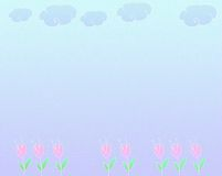 Background with flowers. And clouds stock illustration