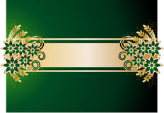 Background  with flowers. Background green color with flowers and gold leaves Stock Photo