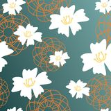 Background with flowers. On dark green Royalty Free Stock Images