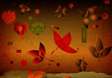 Background with flowers. Grunge brown background with flowers and leaves Royalty Free Stock Photography