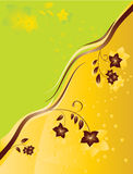 Background with flowers. Vector illustration of green and yellow background with flowers and bubbles Stock Images