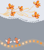 Background with flowers and birds Royalty Free Stock Photos