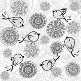 Background with flowers and birds Stock Photo