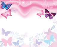Background with flowers and butterflies vector illustration