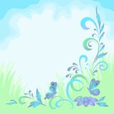 Background with flowers and butterflies Stock Photo
