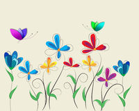 Background with flowers and butterflies . Royalty Free Stock Image