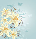 Background with flowers and butterflies Stock Images